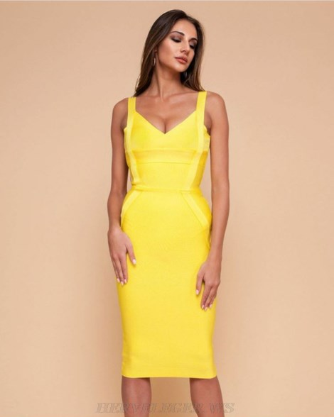 Herve Leger Yellow Basic Bandage Dress