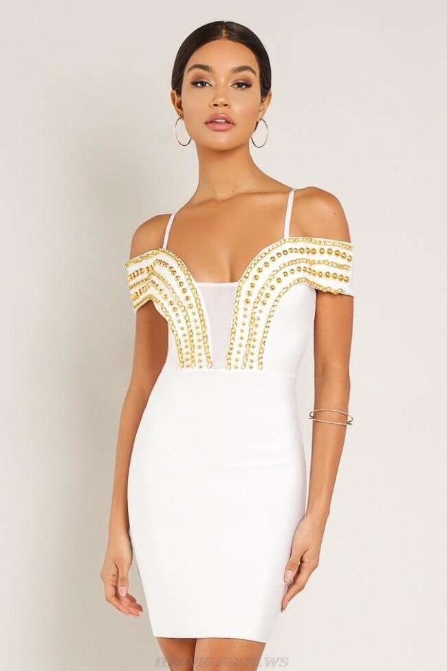 Herve Leger White Chain Bardot Bandage Dress