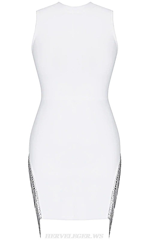 Herve Leger White Embellished Trim Bandage Dress