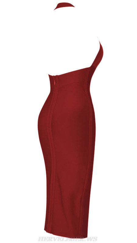 Herve Leger Burgundy V Neck Halter Backless Bandage Dress