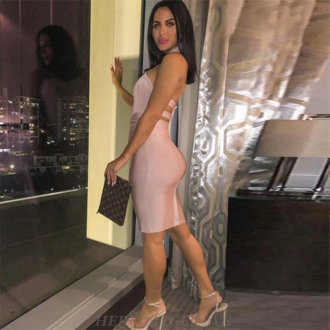 Herve Leger Nude Pink Halter Strappy Bandage Dress