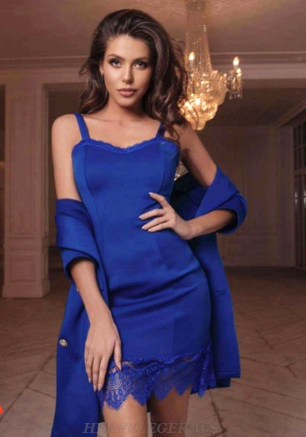 Herve Leger Blue Lace Bandage Dress