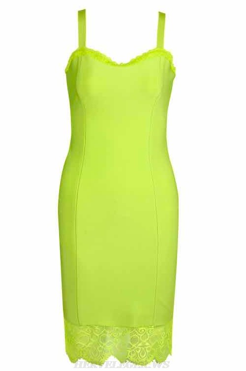 Herve Leger Neon Green Lace Bandage Dress