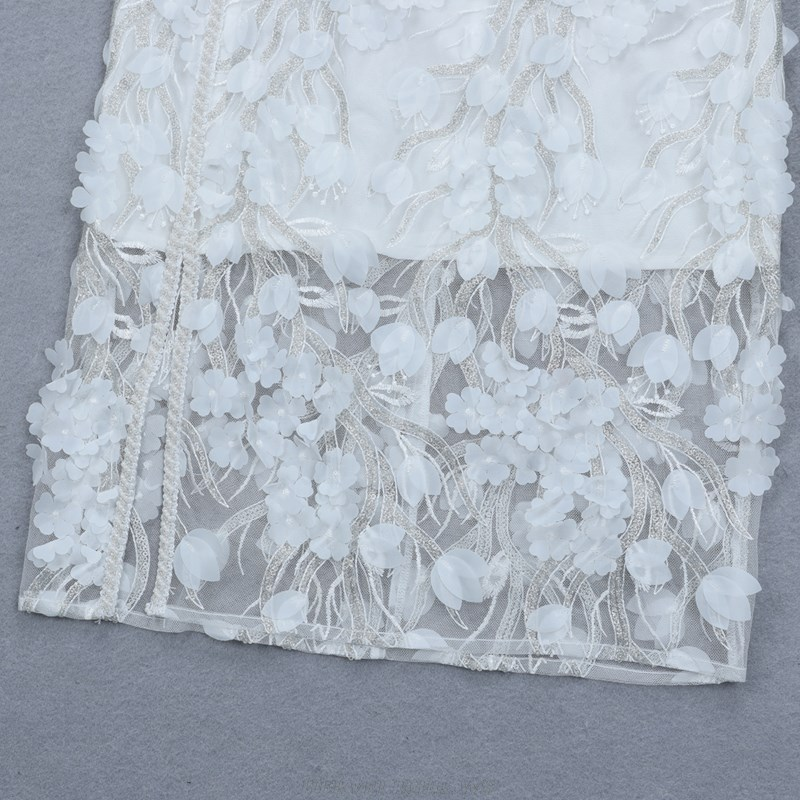 Herve Leger White One Shoulder Floral Lace Stars Dress
