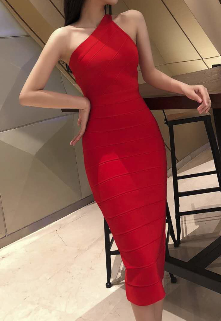Herve Leger Red One Shoulder Strap Bandage Dress