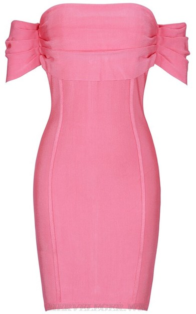 Herve Leger Pink Pleated Bardot Strapless Stars Bandage Dress