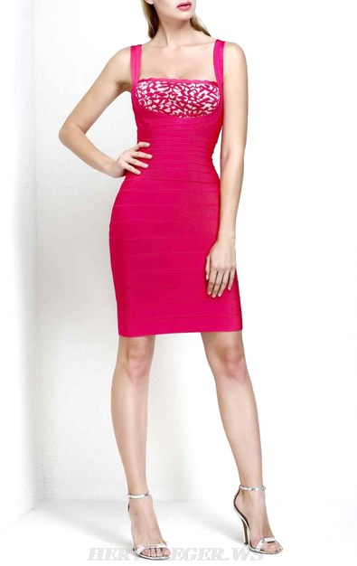 Herve Leger Pink Nude Scalloped Bandage Dress