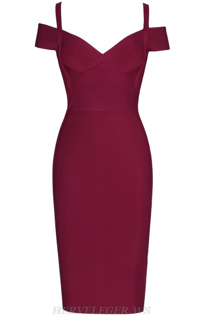 Herve Leger Burgundy Strap Bardot Bandage Dress