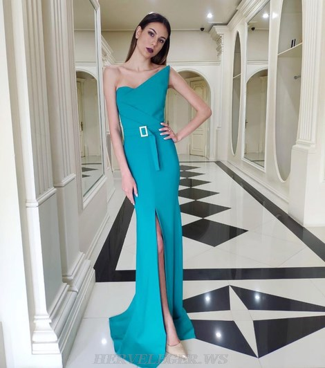 Herve Leger Turquoise One Shoulder Structured Bandeau Mermaid Gown