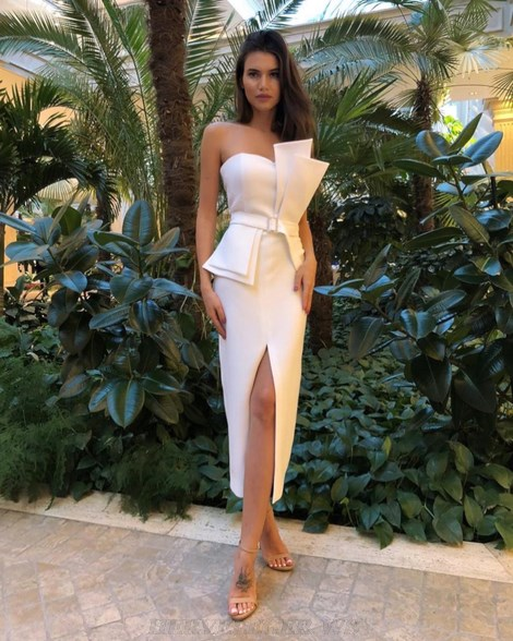 Herve Leger White One Shoulder Structured Bandeau Stars Dress