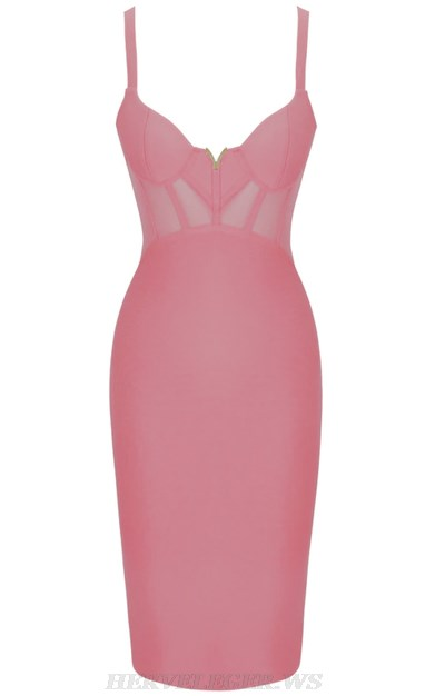 Herve Leger Pink V Neck Structured Mesh Bandage Dress