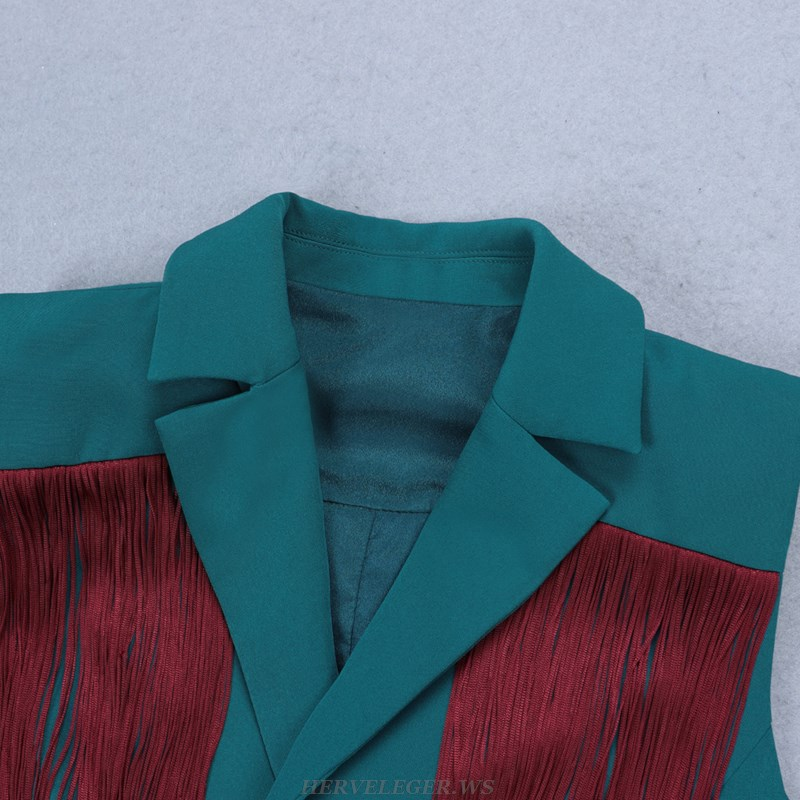 Herve Leger Green And Red Tassel Blazer Dress