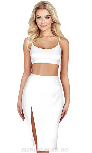 Herve Leger White Two Piece Satined Dress