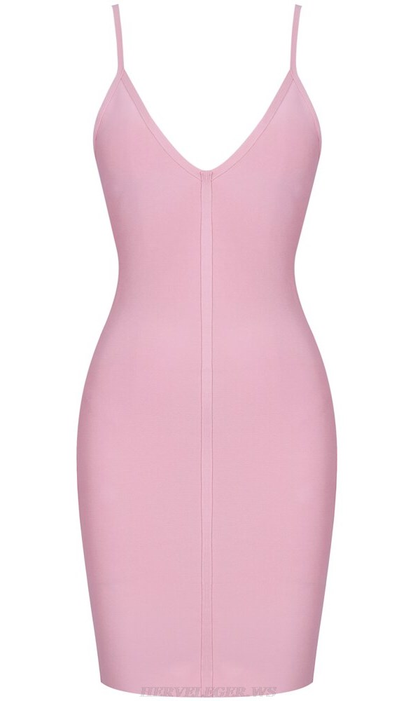 Herve Leger Pink V Neck Bandage Dress