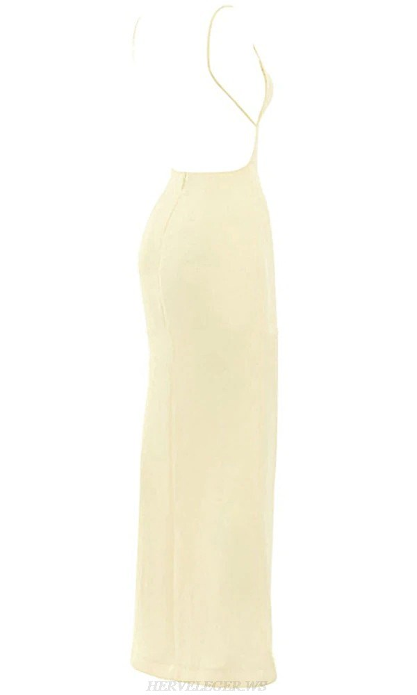 Herve Leger Light Yellow Backless Slit Gown