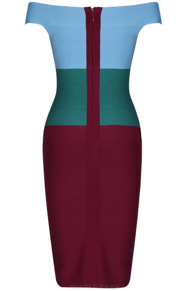Herve Leger Blue Green Burgundy Strapless Bardot Dress