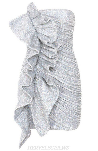 Herve Leger Silver Frill Sequin Strapless Ruched Dress