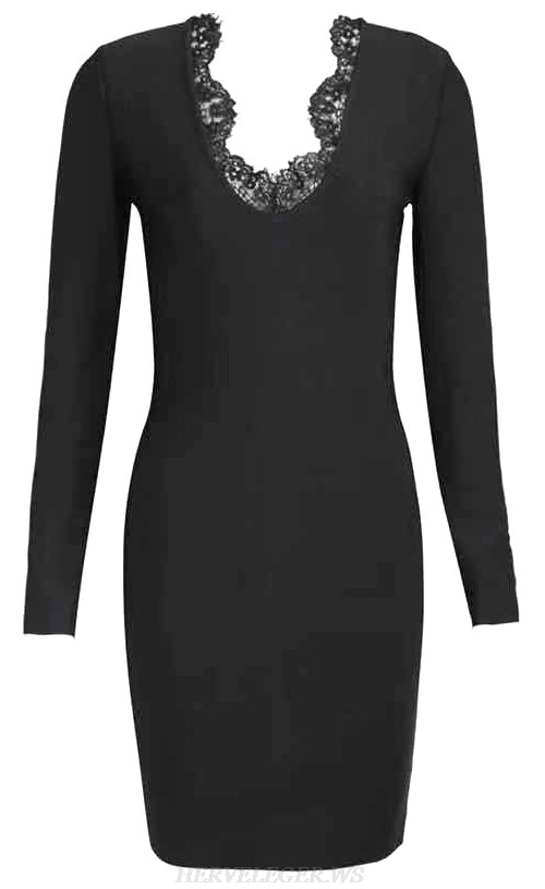 Herve Leger Black Long Sleeve Lace Detail Dress