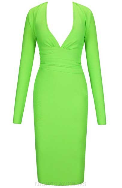 Herve Leger Neon Green Long Sleeve Plunge V Neck Dress