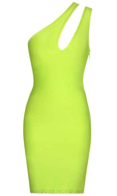 Herve Leger Neon One Shoulder Cut Out Dress