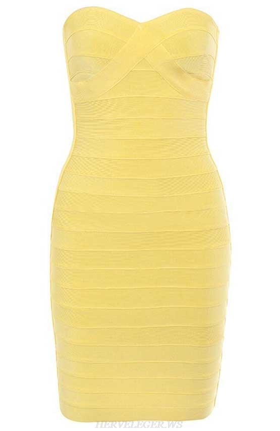 Herve Leger Yellow Strapless Dress