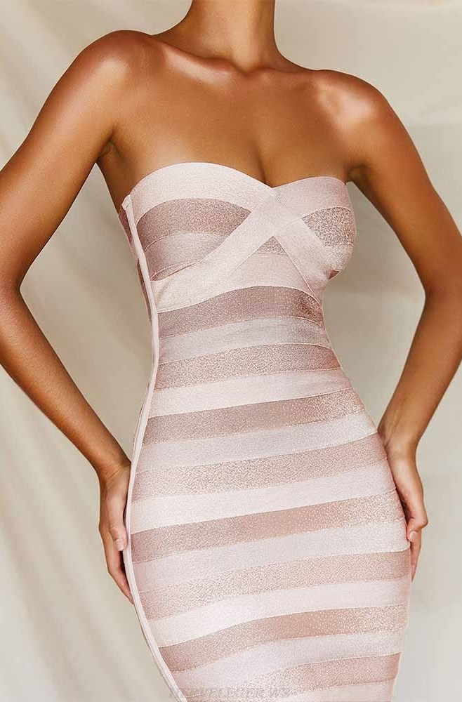 Herve Leger Nude White Strapless Stripes Dress