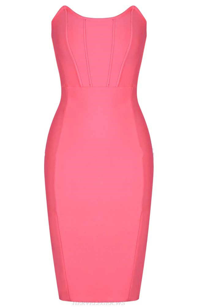 Herve Leger Pink Strapless Structured Dress