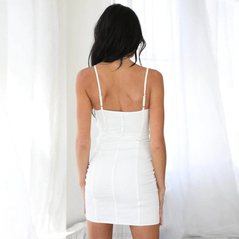 Herve Leger White V Neck Structured Dress