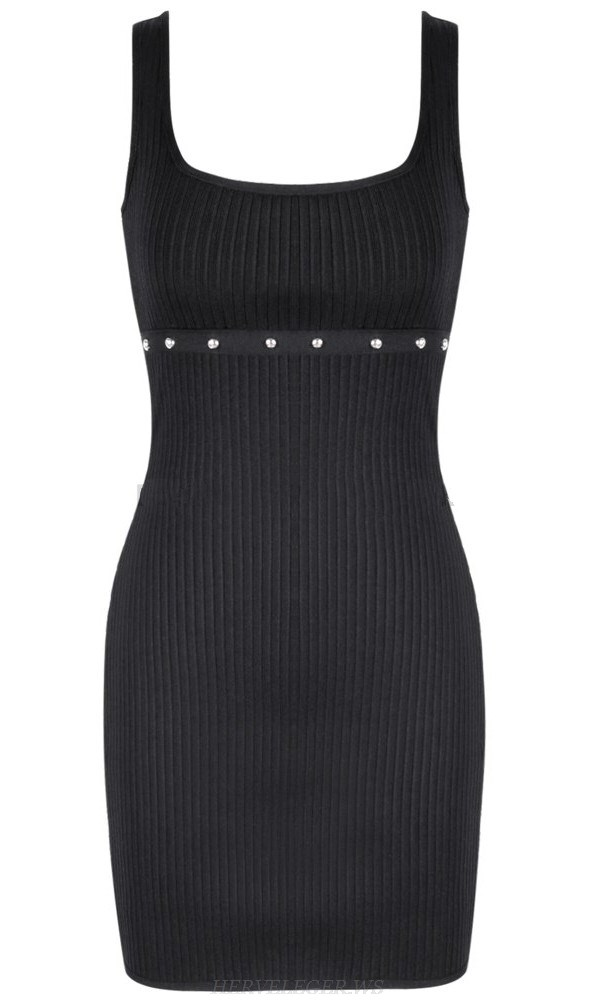 Herve Leger Black Studded Ribbed Dress