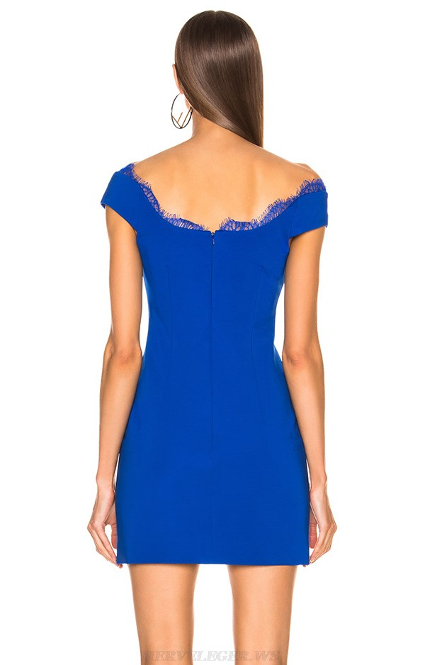 Herve Leger Blue Boatneck Lace Dress