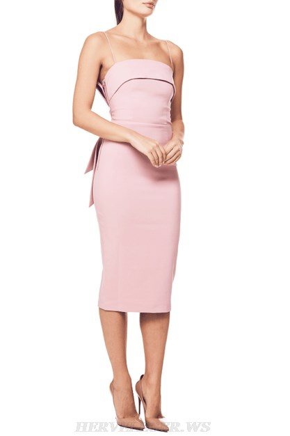 Herve Leger Pink Bow Detail Dress