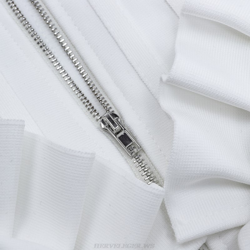Herve Leger White Frill Detail Structured Dress