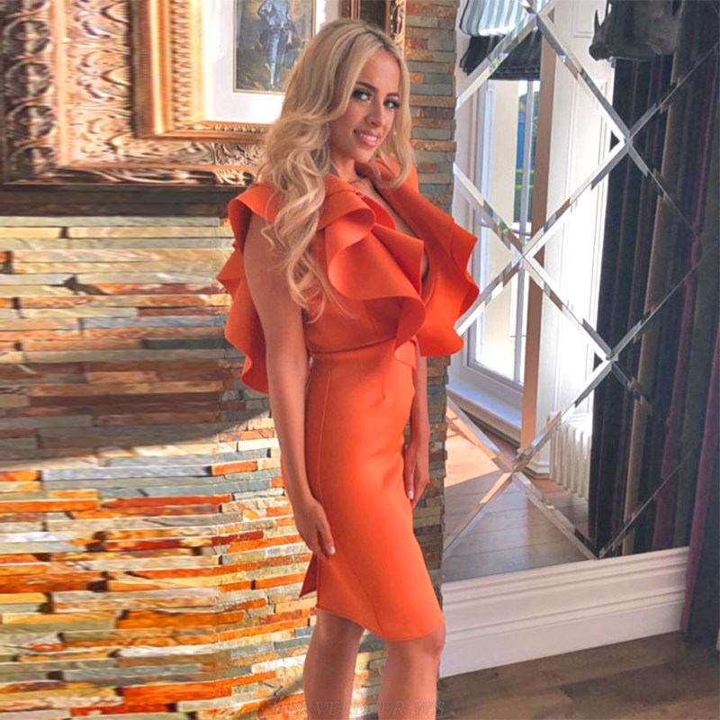 Herve Leger Orange Frill Plunge V Neck Dress