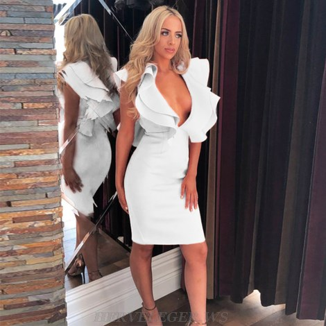 Herve Leger White Frill Plunge V Neck Dress
