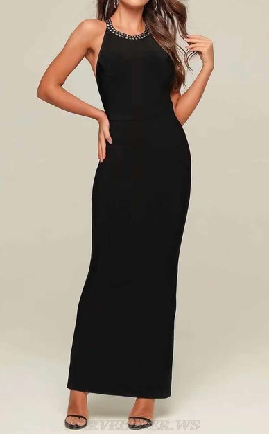 Herve Leger Black Halter Studded Gown
