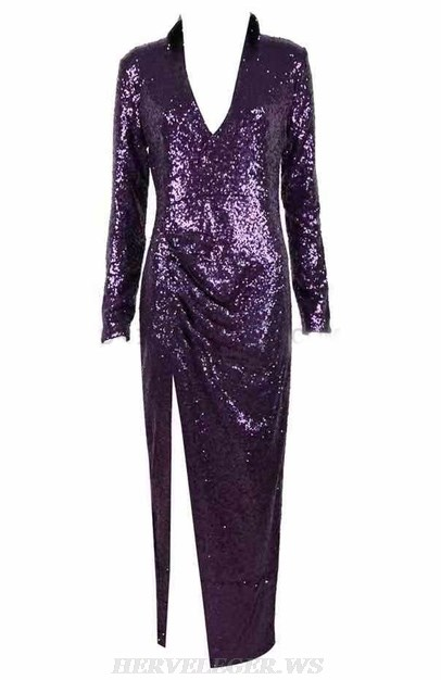 Herve Leger Purple Long Sleeve Gown