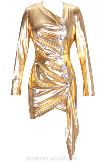 Herve Leger Gold Long Sleeve Ruched Metallic Dress