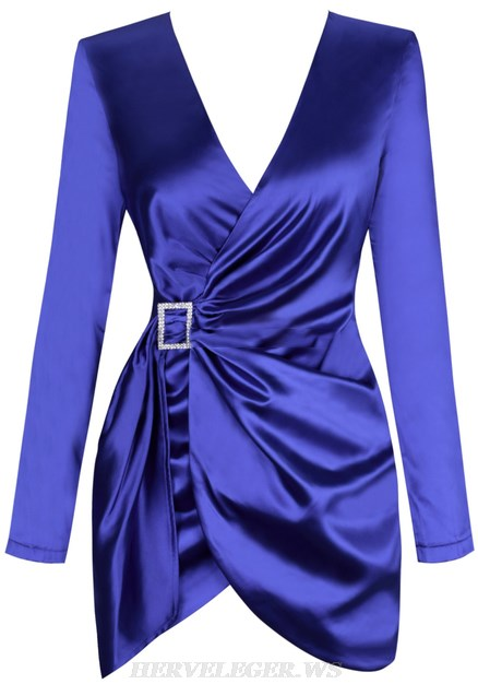 Herve Leger Blue Long Sleeve Ruched Satined Dress