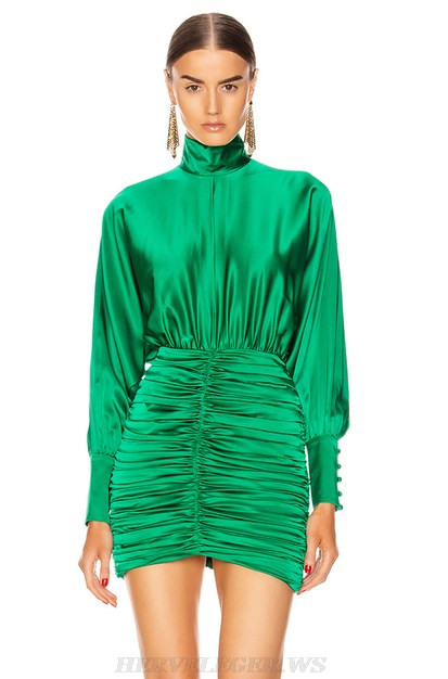 Herve Leger Green Long Sleeve Ruched Satined Dress