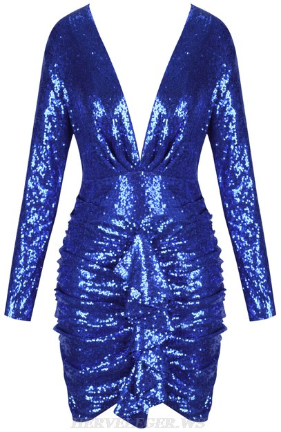 Herve Leger Blue Long Sleeve Ruched Sequin Two Piece Dress
