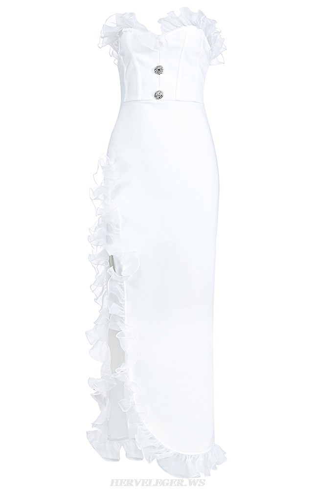 Herve Leger White Mesh Frill Strapless Gown