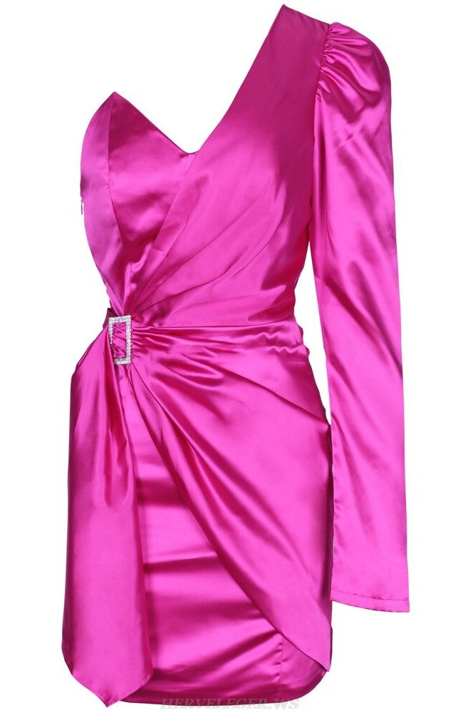 Herve Leger Pink One Sleeve Draped Satined Dress
