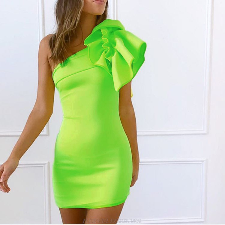 Herve Leger Green One Sleeve Frill Dress