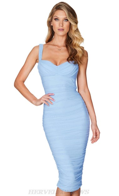 Herve Leger Blue Ruched Dress