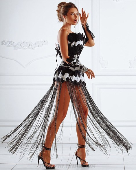 Herve Leger Black White Strapless Feather Tassel Gown