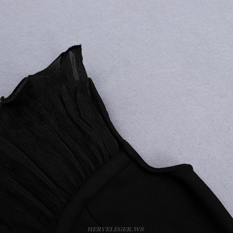 Herve Leger Black Strapless Frill Dress