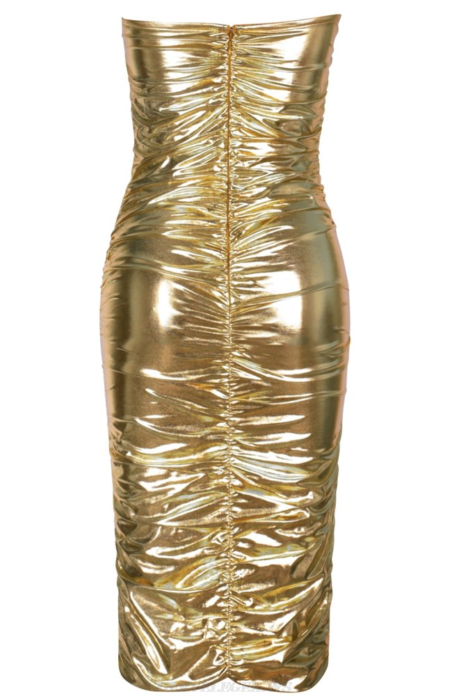Herve Leger Gold Strapless Ruched Metallic Dress