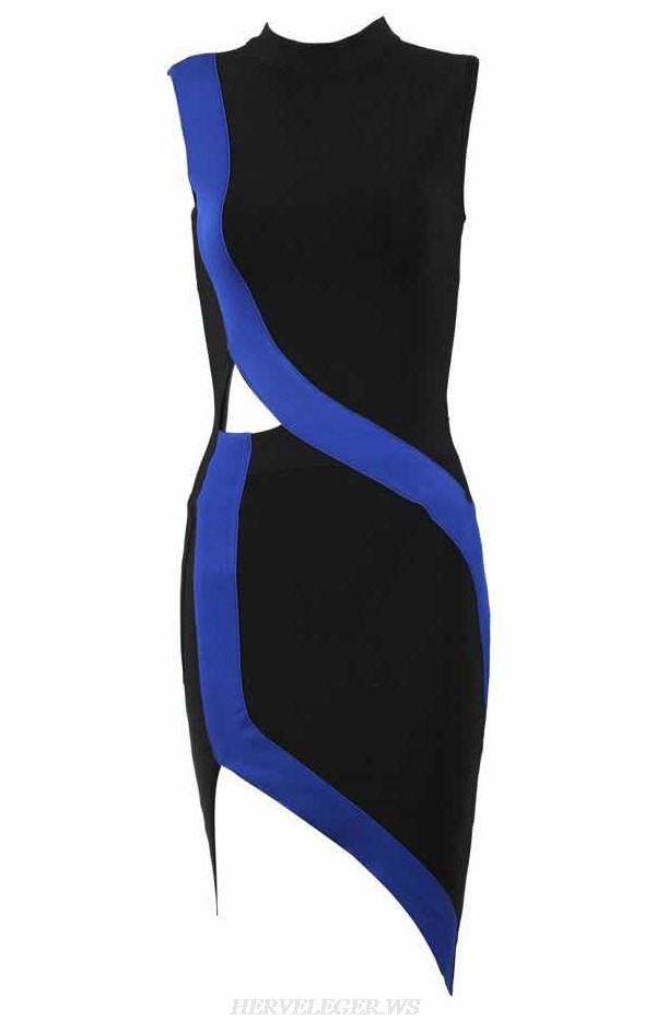 Herve Leger Black Blue Asymmetric Dress