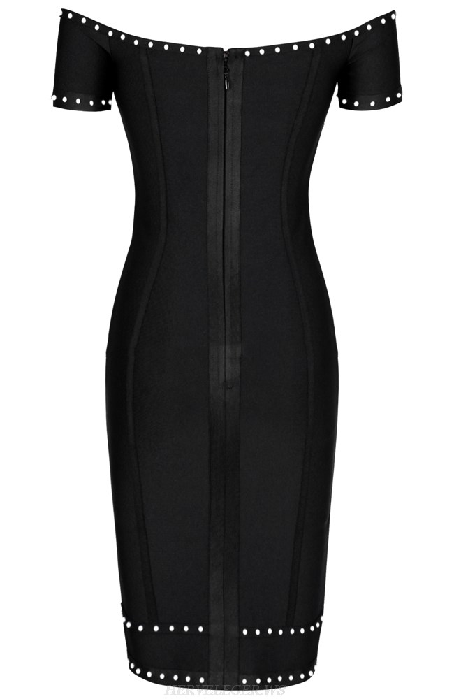 Herve Leger Black Bardot Pearl Dress