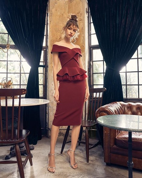 Herve Leger Burgundy Bardot Peplum Two Piece Dress